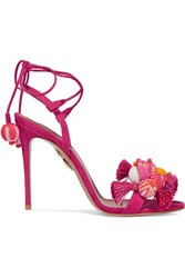 Aquazzura Tropicana Tasseled Beaded Suede Sandals Fuchsia