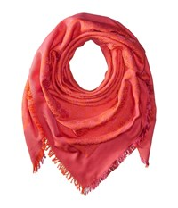 Tory Burch Traveler Oversized Square Scarf Hibiscus Flower Samba Scarves Pink