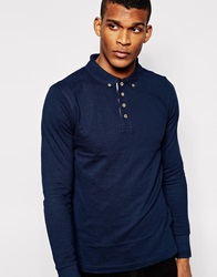 Brave Soul Long Sleeve Polo Shirt Navy