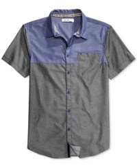William Rast Men's Aston Colorblocked Shirt Chambray Blue Combo