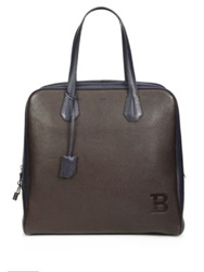 Bally Pilot Two Tone Leather Tote Safari Brown