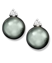 Macy's Cultured Tahitian Black Pearl 8Mm And Diamond 1 10 Ct. T.W. Stud Earrings In 14K White Gold