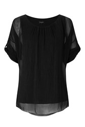 James Lakeland Silk 3 4 Sleeve Top Black