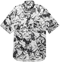 Balenciaga Oversized Button Down Collar Printed Satin Shirt Black