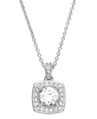 Eliot Danori Necklace Silver Tone Cushion Cut Crystal And Cubic Zirconia Pendant 1 3 4 Ct. T.W.