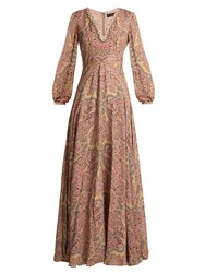 Etro Paisley Print Bead Embellished Silk Gown Pink Print