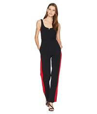 Donna Morgan Jumpsuit With Side Stripe Black Red Jumpsuit And Rompers One Piece
