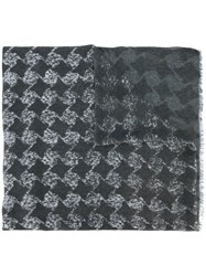 John Varvatos Geometric Pattern Scarf Grey