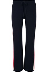 Madeleine Thompson Carcina Striped Cashmere Track Pants Navy