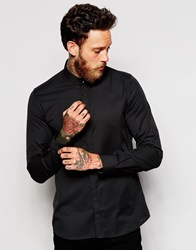 Noose And Monkey Grandad Shirt With Gold Monkey Skull Button Black