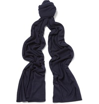 John Smedley Helden Knitted Cashmere And Silk Blend Scarf Blue