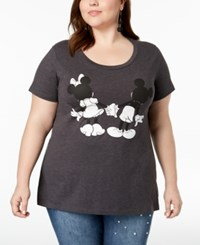 Disney Plus Size Mickey And Minnie Graphic Print T Shirt Charcoal
