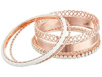 Guess 7 Piece Mixed Bangle Set Rose Gold White Opal Bracelet