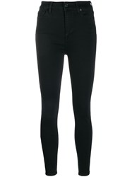7 For All Mankind High Rise Skinny Jeans Black