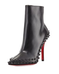 Christian Louboutin Wiletta Spike Trim Leather Red Sole Bootie Black