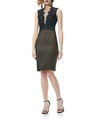 Theia Illusion V Neck Lace Cocktail Dress Black Gold