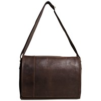 John Lewis Rio Leather Messenger Bag Brown