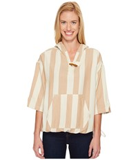 Woolrich Standing Wave Eco Rich Poncho Camel Stripe Women's Sweater Brown