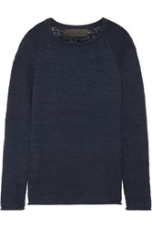 The Elder Statesman Flaco Cashmere Sweater Storm Blue