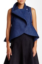Gracia Denim Peplum Vest Blue