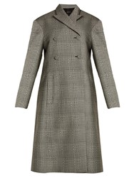 Ellery Bel Air Checked Double Breasted Wool Coat Black White