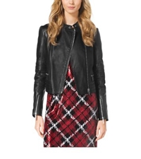 Michael Kors Quilted Leather Paneled Moto Jacket Black
