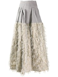 Jourden Faux Feather Embellished Skirt Grey
