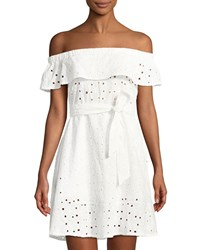 Haute Rogue Off The Shoulder Eyelet Belted Dress White