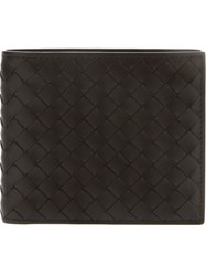 Bottega Veneta Woven Leather Billfold Wallet Black