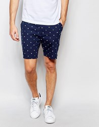 Farah Chino Shorts With Dobby Pattern Navy