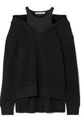 Alexander Wang T By Layered Wool And Stretch Cotton Jersey Sweater Black