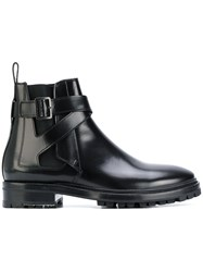 Lanvin Buckled Chelsea Boots Leather Rubber Black