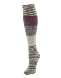 Memoi Marled Combed Cotton Blend Socks Brown