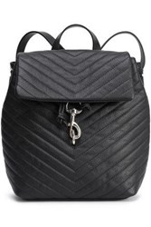 Rebecca Minkoff Woman Quilted Textured Leather Backpack Black