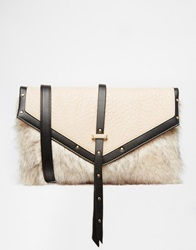 Lipsy Faux Fur Flap Top Cross Body Bag Wh1