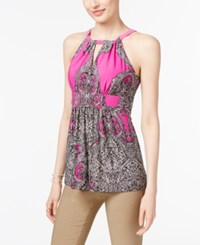 Inc International Concepts Empire Waist Halter Top Only At Macy's Pink Medusa Paisley