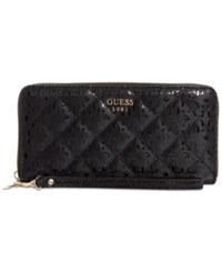 Guess Seraphina Large Zip Around Signature Wallet Black