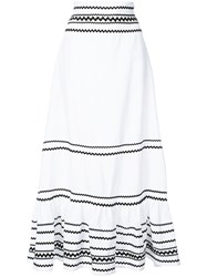 Lisa Marie Fernandez Full Length Stripe Skirt Women Linen Flax Ii White