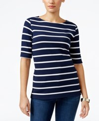 Karen Scott Striped Boat Neck Top Only At Macy's Intrepid Blue
