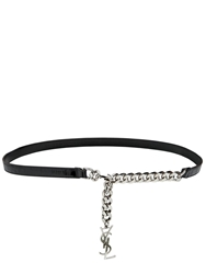 Saint Laurent 15Mm Chain And Embossed Leather Belt Black Silver