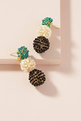Anthropologie Beaded Sphere Drop Earrings Turquoise