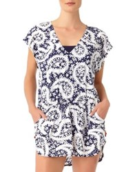 Anne Cole Paisley Tunnel Tunic Navy