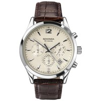 Sekonda 3487.27 Men's Chronograph Textured Leather Strap Watch Brown Ivory