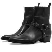Saint Laurent Studded Leather Wyatt Boot Black