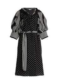 Stella Mccartney Polka Dot And Stripe Print Crepe Dress Black