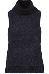 Rag And Bone Adele Ribbed Wool Blend Turtleneck Sweater Midnight Blue