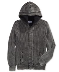 American Rag Men's Chunky Knit Hooded Cardigan With Faux Sherpa Lining Only At Macy's Deep Black