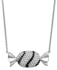 Sis By Simone I Smith Platinum Over Sterling Silver Necklace Black And White Crystal Candy Pendant