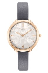 Ted Baker London Elena Leather Strap Watch 30Mm Grey Mop Rose Gold