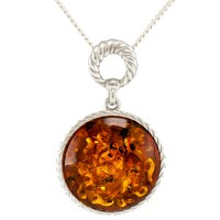 Be Jewelled Round Amber Pendant Necklace Cognac